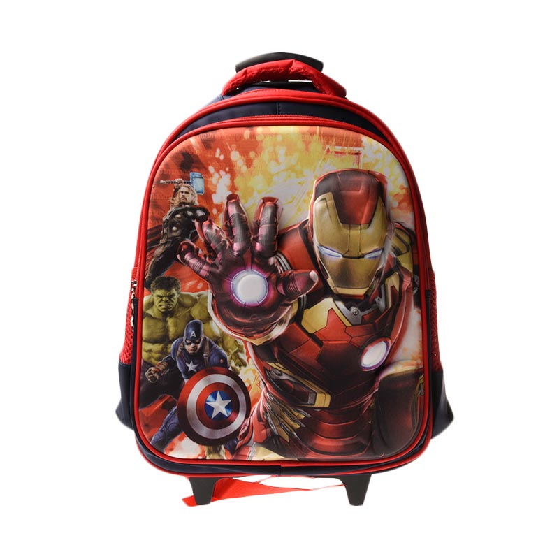Unico 23DIM2 3D Large Iron Man Red Tas Trolley Anak