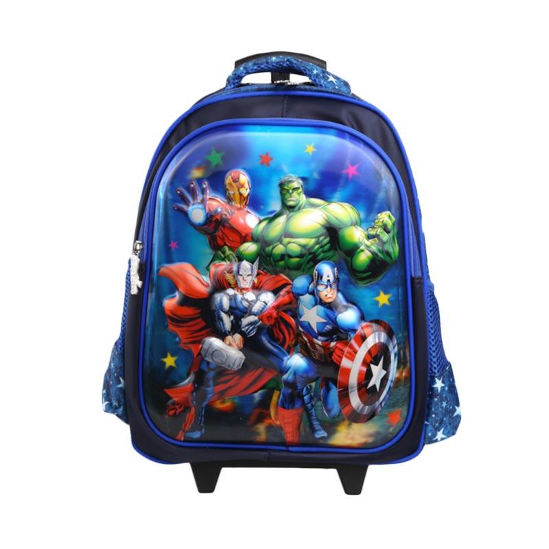 Unico 2HA Hologram large Avengers Blue Tas Trolley Anak