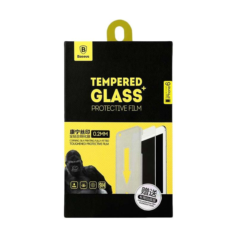 Baseus Corning Tempered Glass Black Screen Protector for iPhone 6 [0.2 mm] + Installation Tool