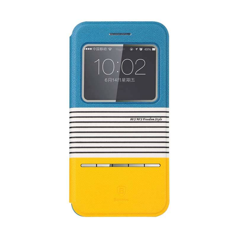 Baseus Eden Leather Case for iPhone 6 Biru Kuning