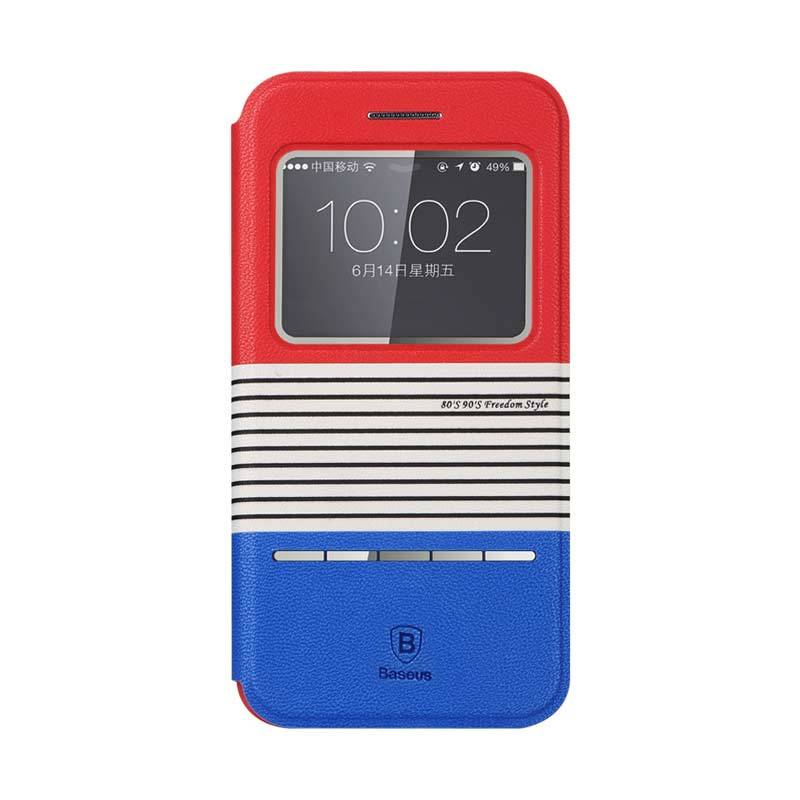 Baseus Eden Leather Case for iPhone 6 Merah Biru