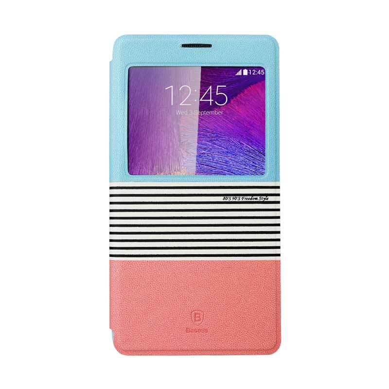 Baseus Eden Leather Case for Samsung Galaxy Note 4 Blue Pink
