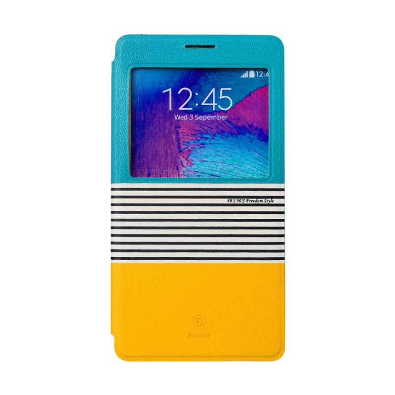 Baseus Eden Leather Case for Samsung Galaxy Note 4 Blue Yellow