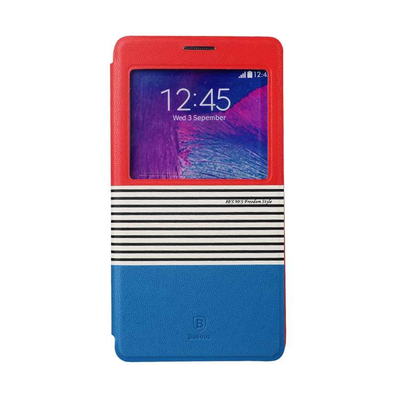 Baseus Eden Leather Case for Samsung Galaxy Note 4 Red Blue