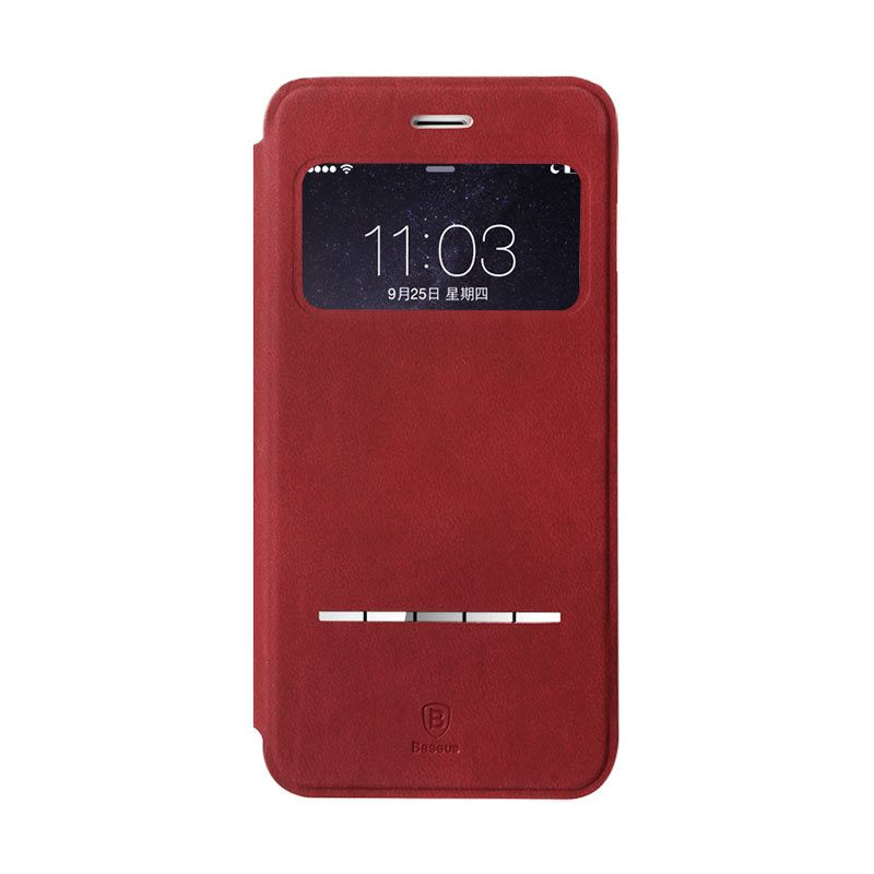 Baseus Terse Leather Case for iPhone 6 Plus Merah