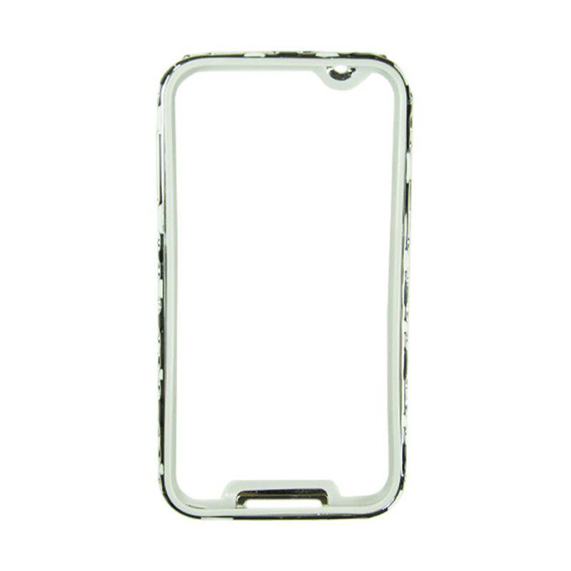 Fashion Metal Bumper For Samsung Galaxy S5 Silver Frame Hitam & Putih