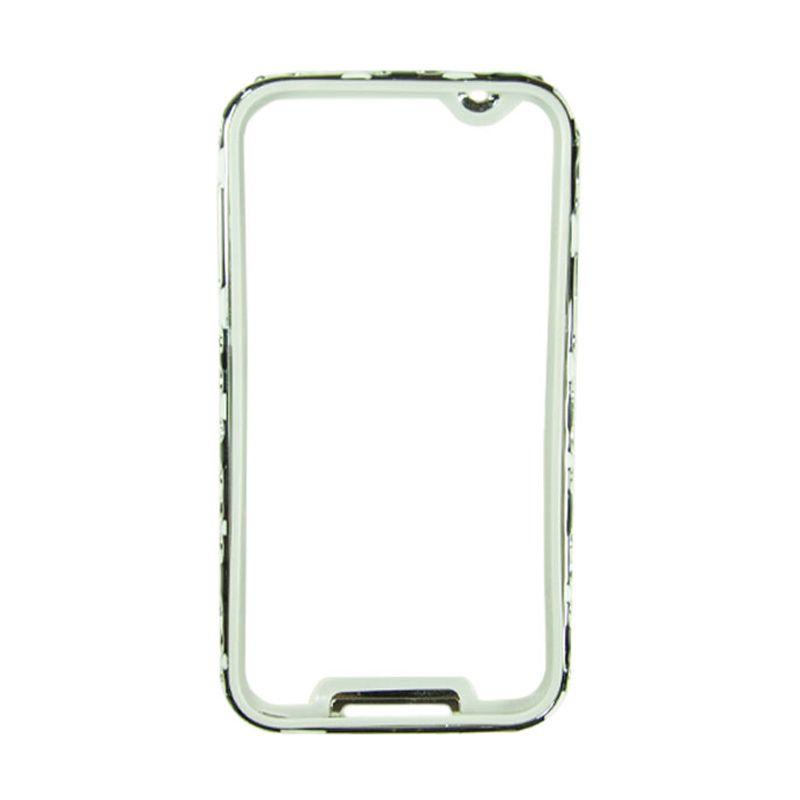 Fashion Metal Bumper For Samsung Galaxy Note 3 Silver Frame Hitam & Putih