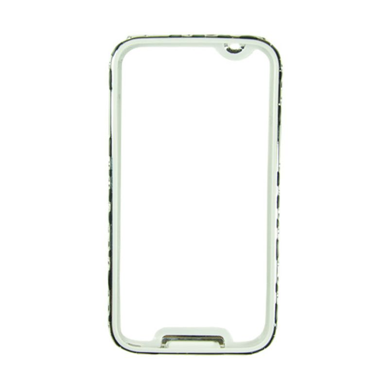 Fashion Metal Bumper With TPU Protection for Samsung Galaxy S5 Silver Frame Hitam