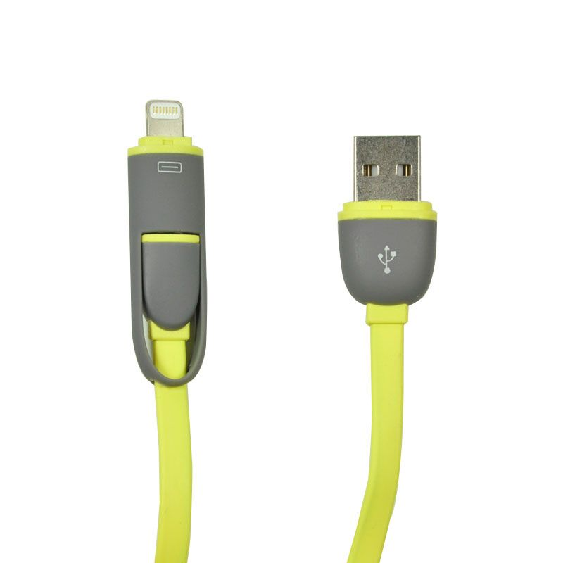 Fashion Smart Data Cable Dual Port iPhone 6 dan Micro USB Kuning