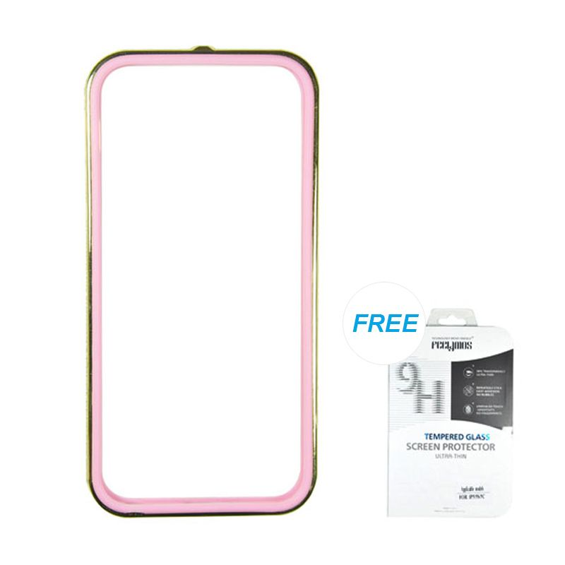 Fashion Sunyart Metal Bumper with TPU protection Gold Pink iPhone 5/5S Casing