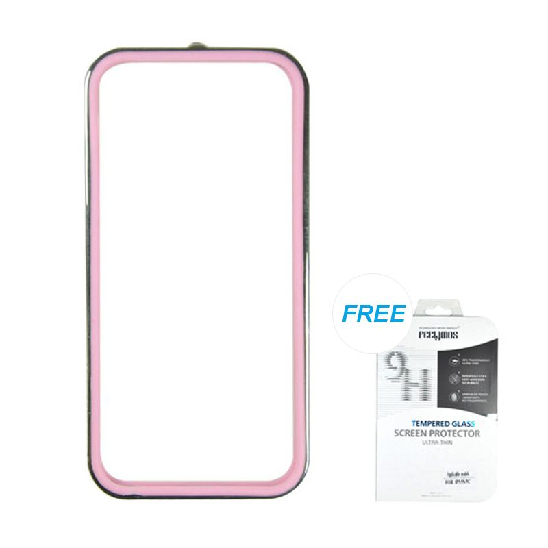 Fashion Sunyart Metal Bumper with TPU protection Silver Pink iPhone 5/5S Casing