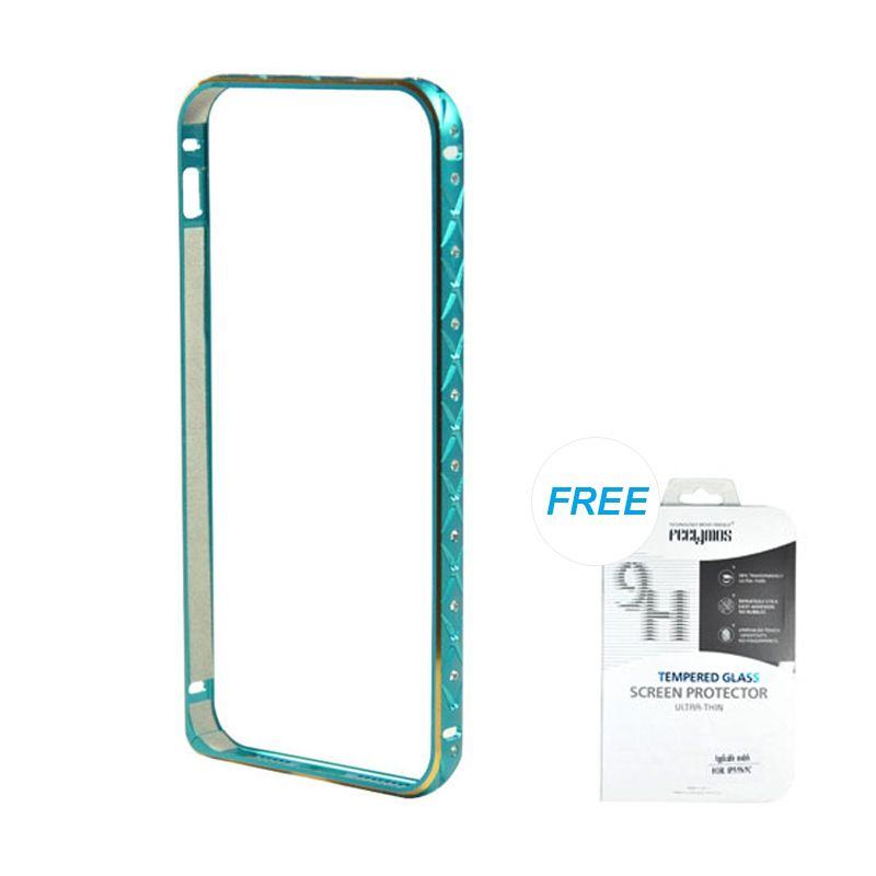 Fashion Ultrathin Diamond Bumper Protection Blue iPhone 5/5S Casing