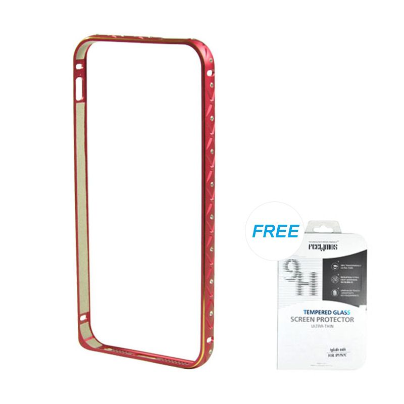 Fashion Ultrathin Diamond Bumper Protection Red iPhone 5/5S Casing