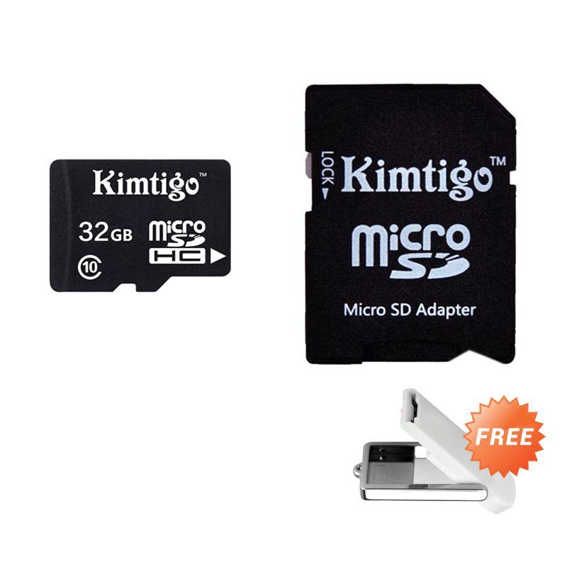 Kimtigo Micro SD with Adapter Class 10 KTT-M10 Memory Card [32 GB] + OTG Card Reader