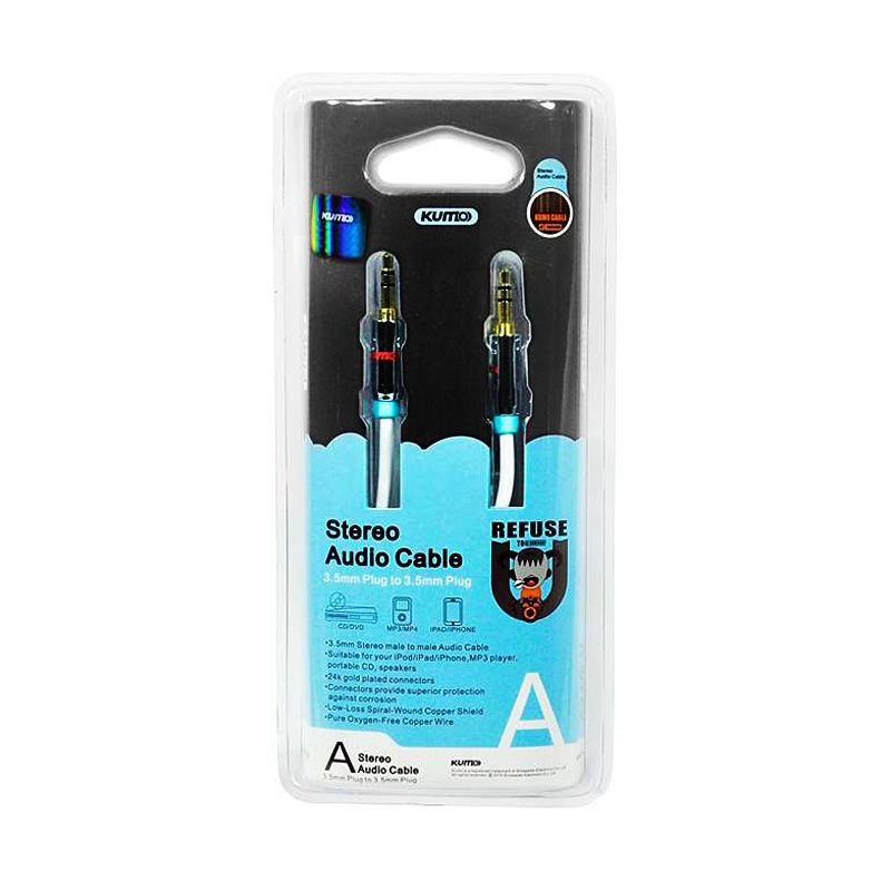 KUMO Stereo/Aux Cable 3.5mm 5m Alumunium Casing with Gold Plated White