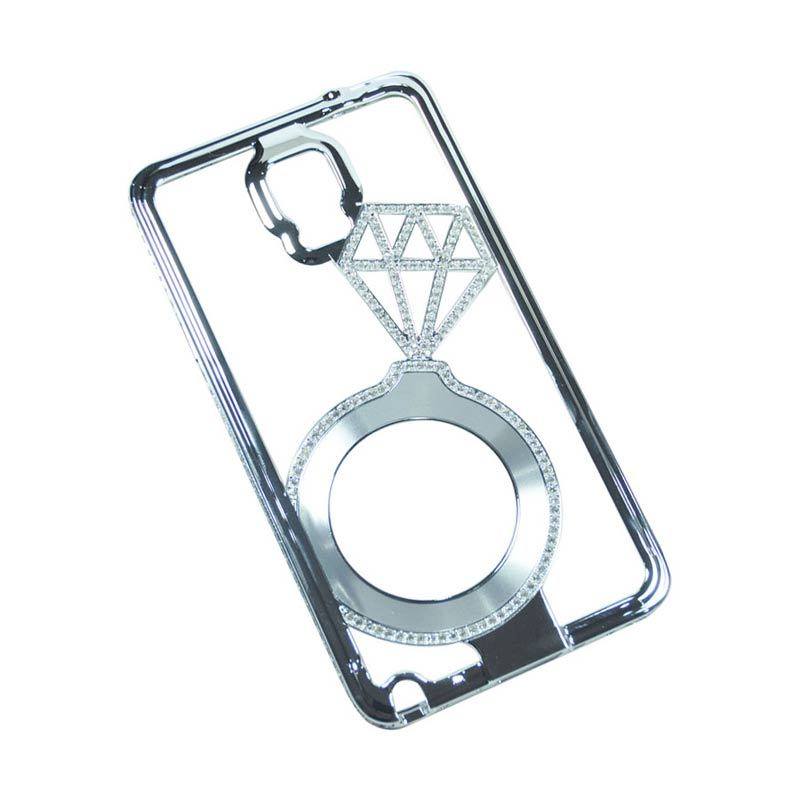 Shengo Beautiful Diamond Bumper Samsung Galaxy Note 4 Silver