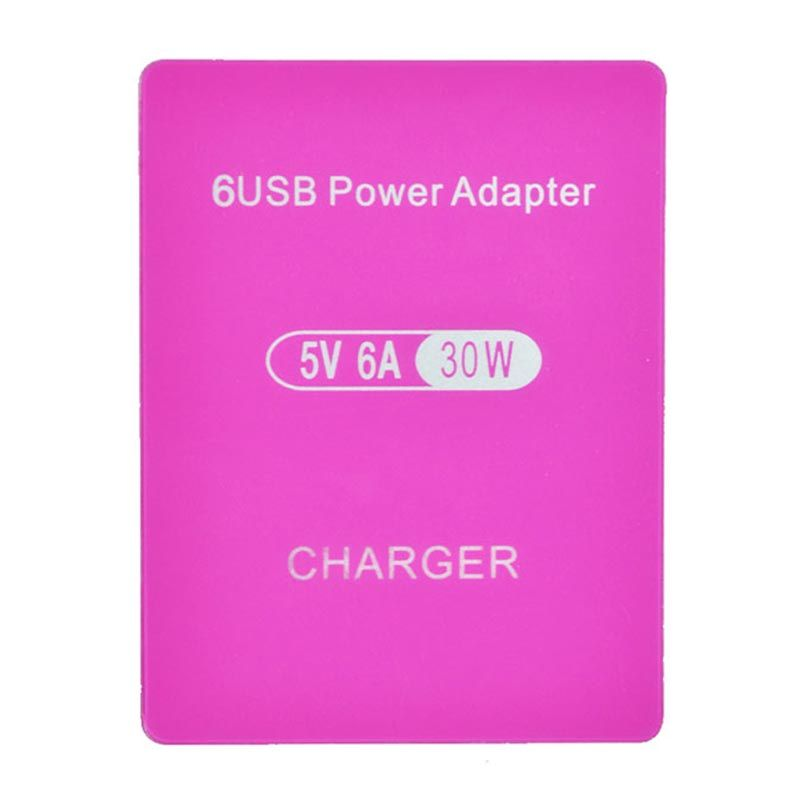 Smart High Speed 6 Port Pink USB Charger