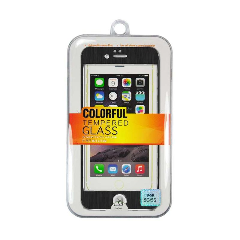 Titanium Alloy Tempered Glass Front Back Black Screen Protector for iPhone 5 or 5s