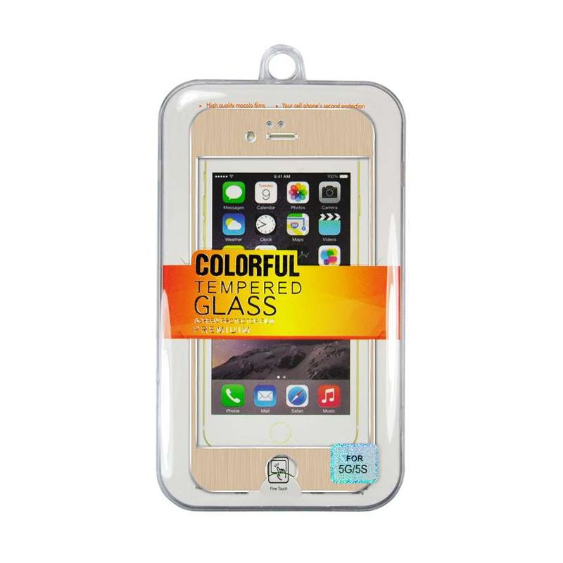 Titanium Alloy Tempered Glass Front Back Gold Screen Protector for iPhone 5 or 5s