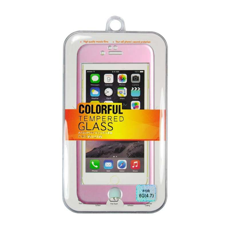 Titanium Alloy Tempered Glass Front Back Pink Screen Protector for iPhone 6