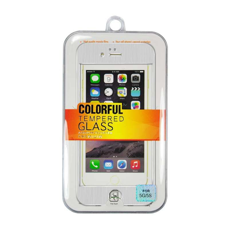 Titanium Alloy Tempered Glass Front Back Silver Screen Protector for iPhone 5 or 5s