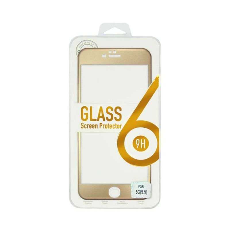 Titanium Alloy Tempered Glass Front Gold Screen Protector for iPhone 6 Plus