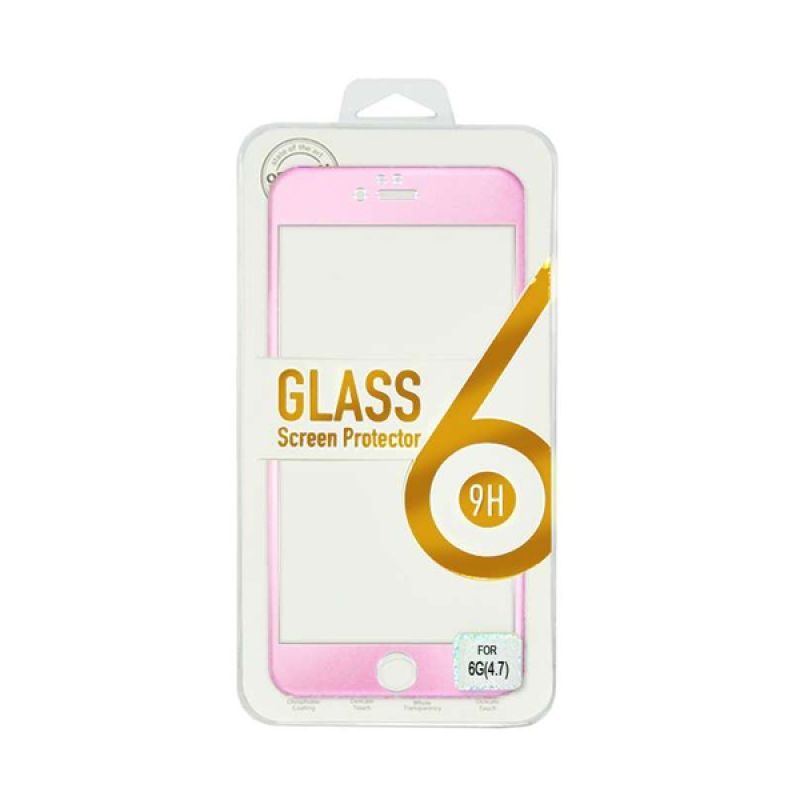 Titanium Alloy Tempered Glass Front Pink Screen Protector for iPhone 6