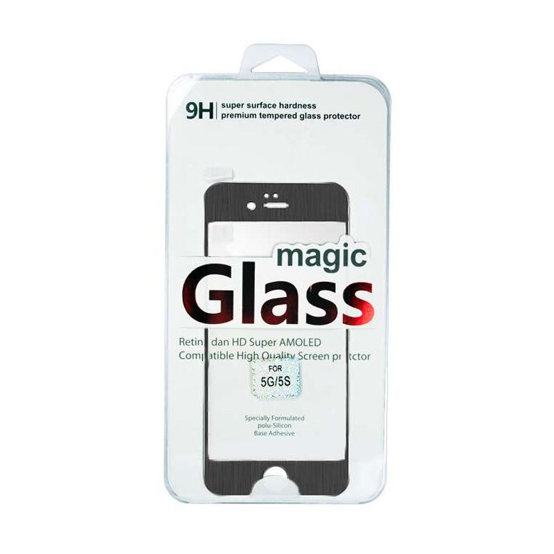 Titanium Alloy Tempered Glass Magic Glass Black Screen Protector for iPhone 5 or 5s