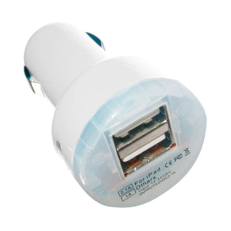 Universal Dual USB Putih Car Charger [2A]