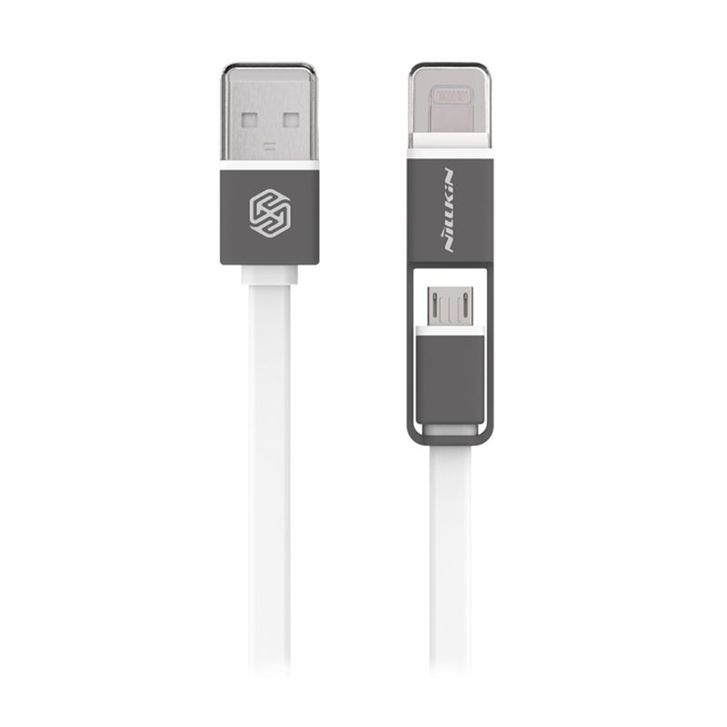 Nillkin Dual Sync Charge Micro and Lightening Putih USB Data Cable Cable [120 cm]