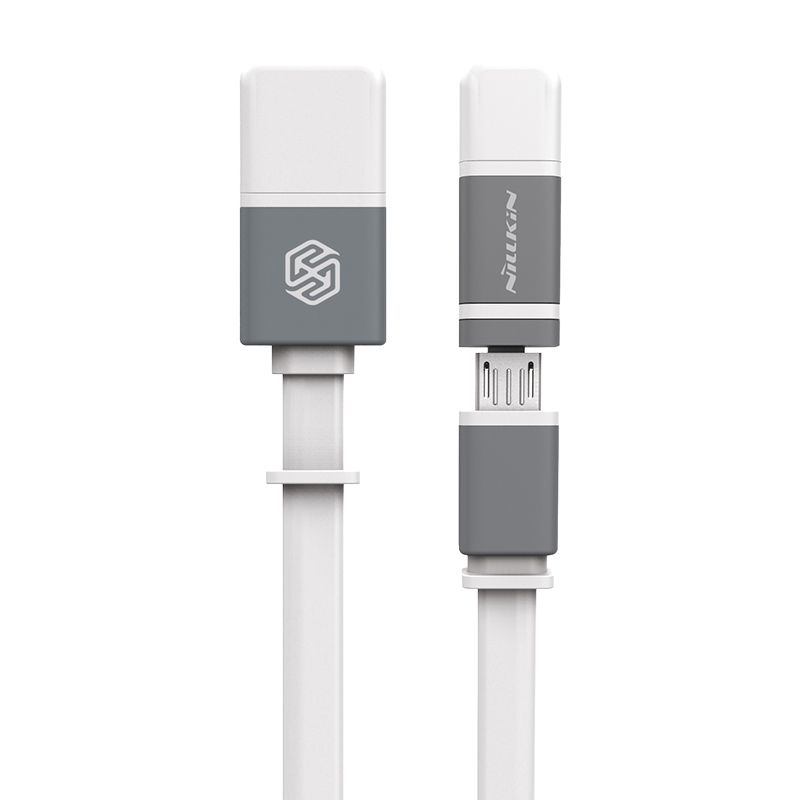 Nillkin Dual Sync and Charge White Cable Micro USB Plus 2 Lightning [120 cm]