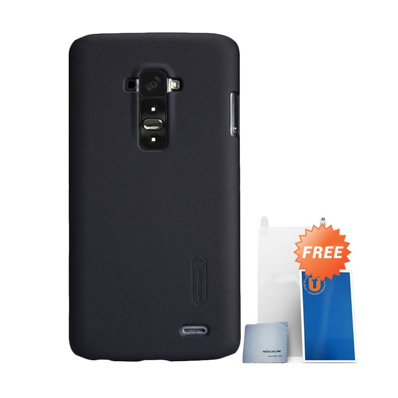 Nillkin Frosted Black Hard Case Casing for LG G Flex + Screen Protector + Pembersih Layar