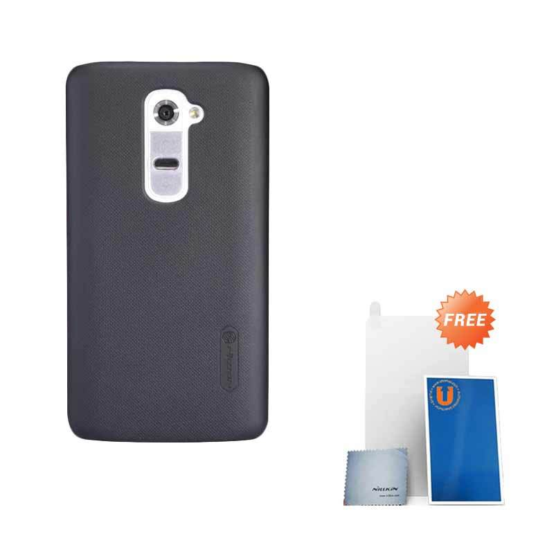 Nillkin Frosted Black Hard Case Casing for LG G2 + Screen Protector + Pembersih Layar