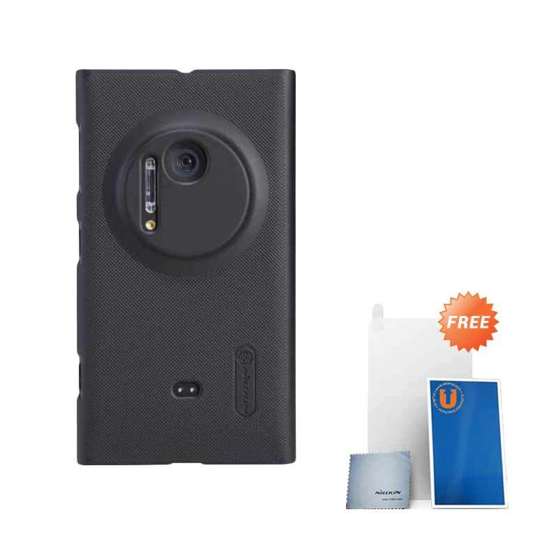 Nillkin Frosted Black Hard Case Casing for Nokia Lumia 1020 + Screen Protector + Pembersih Layar
