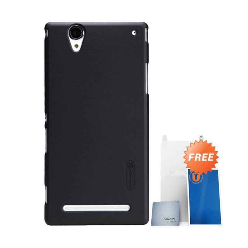 Nillkin Frosted Black Hard Case Casing for Sony Xperia T2 Ultra + Screen Protector + Pembersih Layar