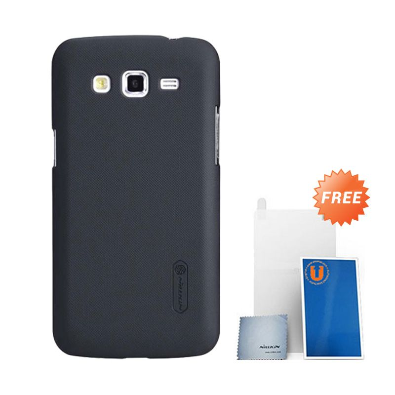 Nillkin Frosted Black Hard Case Casing for Galaxy Grand 2 + Screen Protector