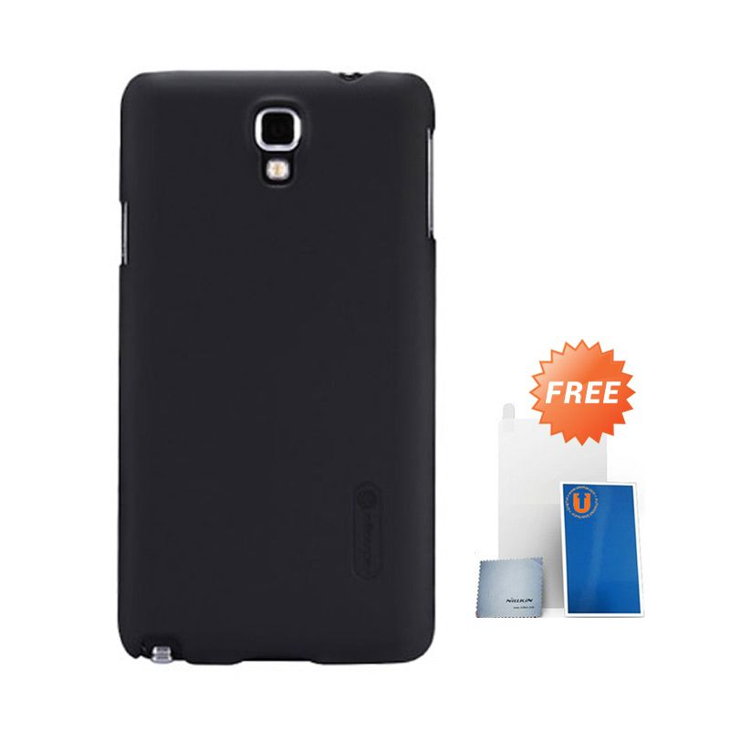 Nillkin Frosted Black Hard Case Casing for Galaxy Note 3 Neo + Screen Protector