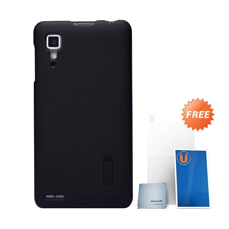Nillkin Frosted Black Hard Case Casing for Lenovo P780 + Screen Protector