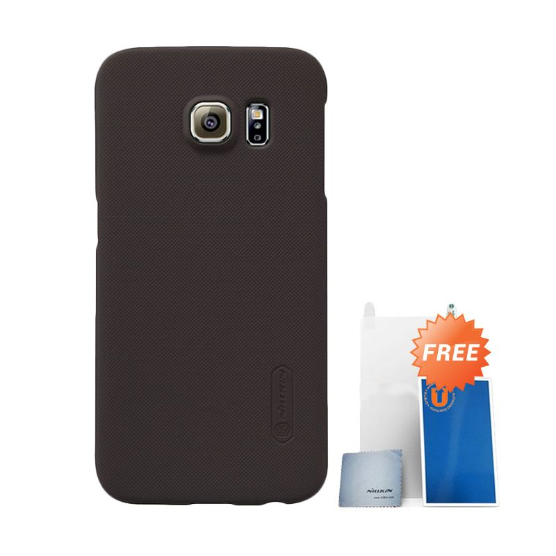Nillkin Frosted Brown Hard Case Casing for Samsung Galaxy S6 Edge + Screen Protector + Pembersih Layar