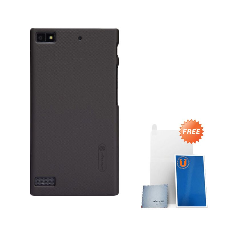 Nillkin Frosted Brown Hard Case Casing for BlackBerry Z3 + Screen Protector