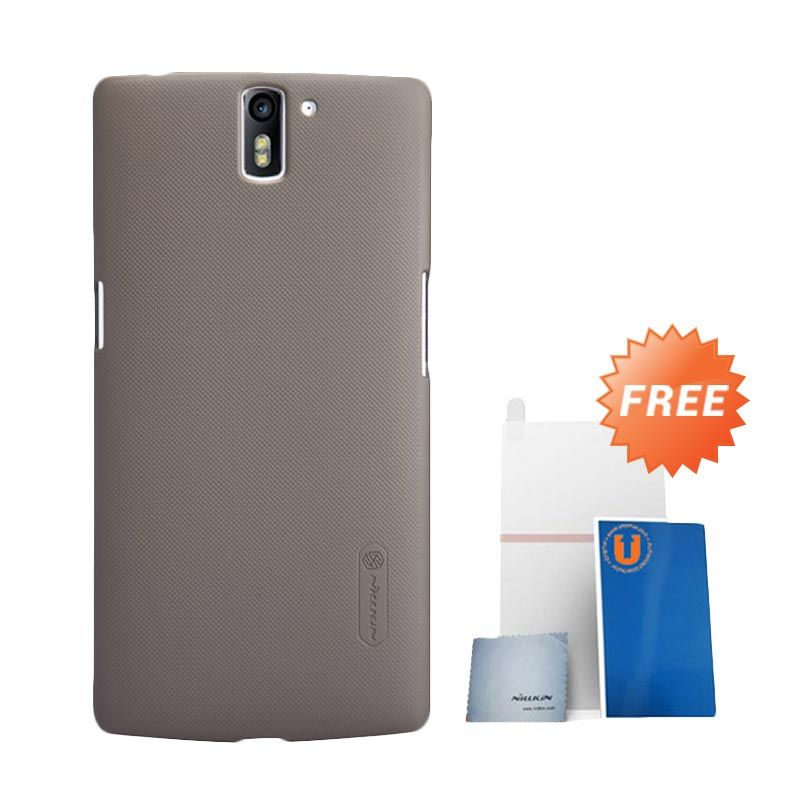Nillkin Frosted Brown Hard Case Casing for OnePlus One + Screen Protector
