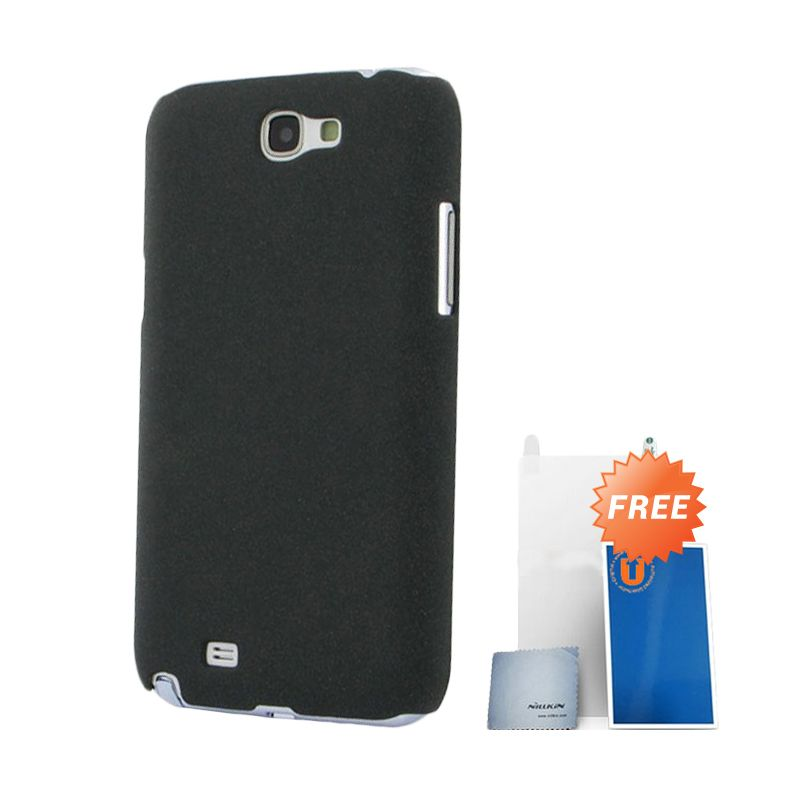 Nillkin Frosted Black Hard Case Casing for Galaxy Note 2 + Screen Protector + Pembersih Layar