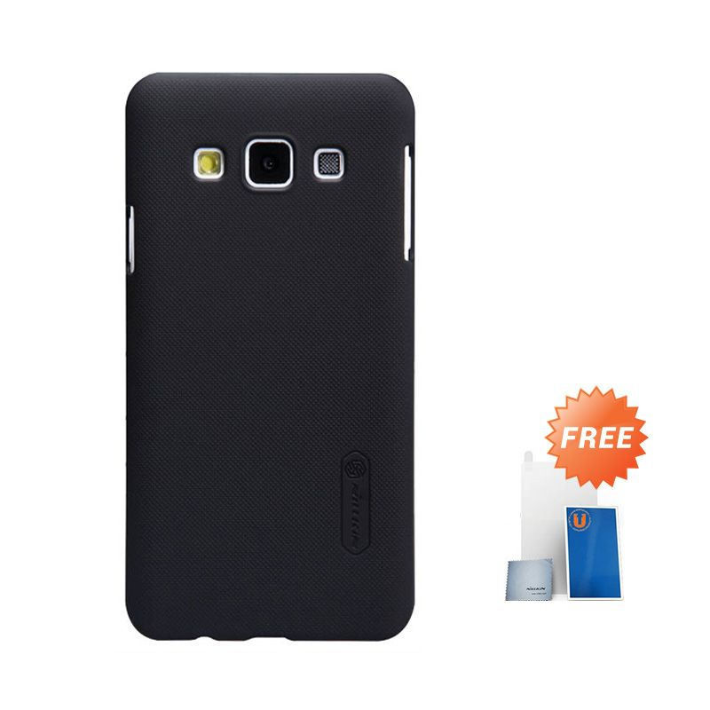 Nillkin Frosted Black Hard Case Casing for Samsung Galaxy A3 + Screen Protector + Pembersih Layar