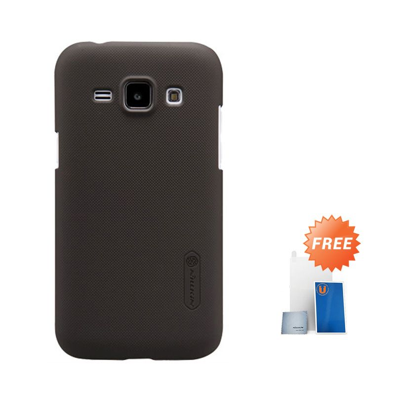 Nillkin Frosted Brown Hard Case Casing for Samsung Galaxy J1 + Screen Protector + Pembersih Layar