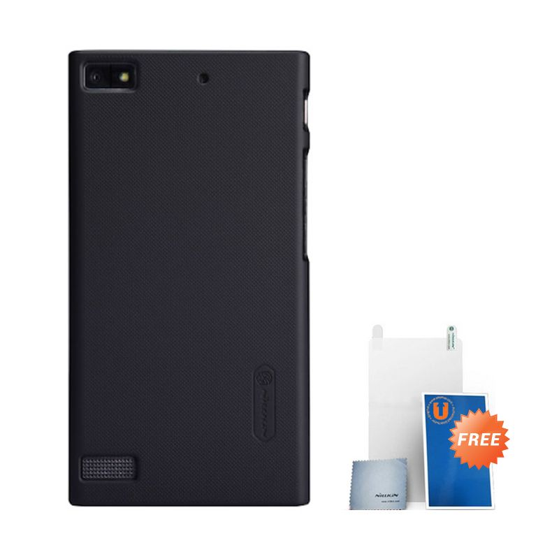 Nillkin Frosted Hard Case Black Casing for BlackBerry Z3 + Screen Protector + Micro Fiber Cloth