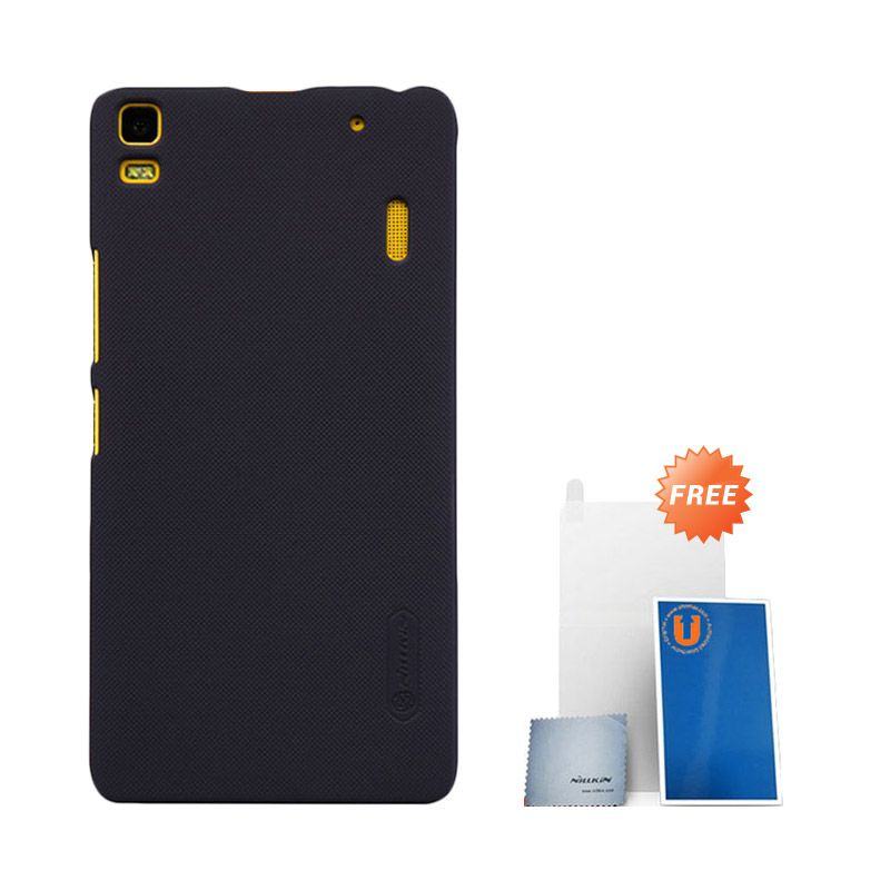 Nillkin Frosted Black Hardcase Casing for Lenovo A7000 + Screen Protector + Micro Fiber