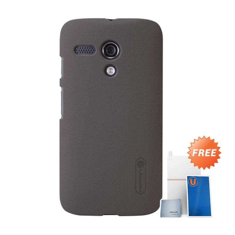 Nillkin Frosted Brown Hard Case Casing for Moto G + Screen Protector + Micro Fiber Cloth