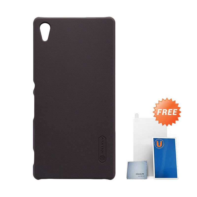 Nillkin Frosted Brown Hard Case Casing for Sony Xperia Z3+ or Z4 + Screen Protector