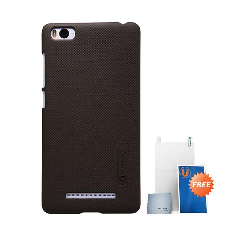 Nillkin Frosted Hard Case Brown Casing for Xiaomi Mi4i + Screen Protector + Micro Fiber Cloth