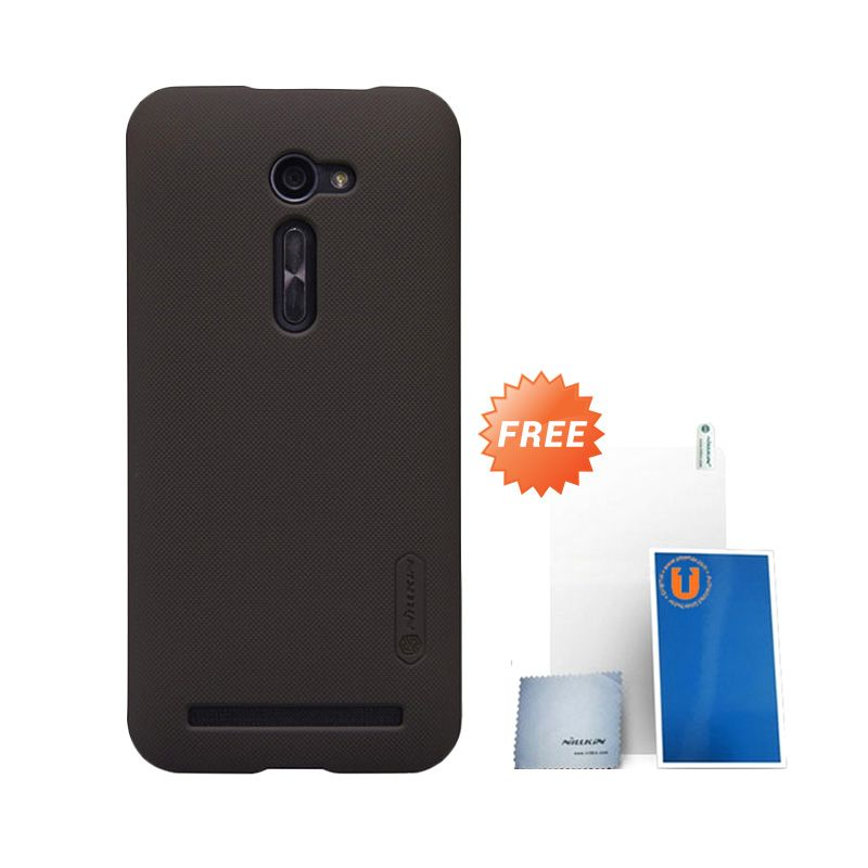 Nillkin Frosted Dark Brown Hard Case Casing for Asus Zenfone 2 [5.0 Inch] + Screen Protector + Micro Fiber Cloth